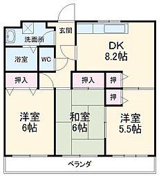葉山マンション2 6階3LDKの間取り
