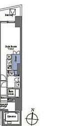 プライムブリス笹塚 2階ワンルームの間取り
