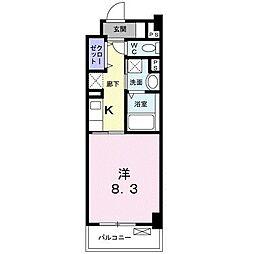 JR東海道・山陽本線 甲子園口駅 徒歩10分の賃貸マンション 3階1Kの間取り