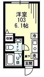 Refine戸塚町 1階ワンルームの間取り