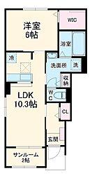 JR成田線 小見川駅 徒歩18分の賃貸アパート 1階1LDKの間取り