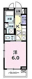 JR中央線 東小金井駅 徒歩5分の賃貸アパート 2階1Kの間取り
