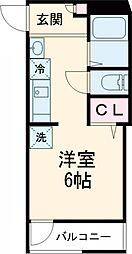 cloud9 KINUTA 2階ワンルームの間取り