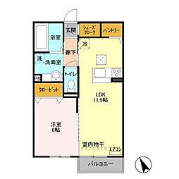 JR成田線 笹川駅 5.9kmの賃貸アパート 2階1LDKの間取り