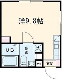 東急大井町線 中延駅 徒歩7分の賃貸マンション 1階ワンルームの間取り