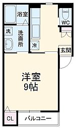 名鉄名古屋本線 東岡崎駅 徒歩10分の賃貸アパート 2階1Kの間取り