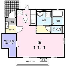 JR東海道本線 稲沢駅 徒歩31分の賃貸アパート 1階1Kの間取り