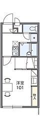 JR両毛線 駒形駅 徒歩21分の賃貸アパート 1階1Kの間取り