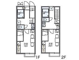 JR両毛線 新前橋駅 徒歩30分の賃貸アパート 1階1Kの間取り