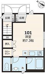 テイクメゾン江古田 1階ワンルームの間取り