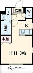 JR東北本線 宇都宮駅 徒歩7分の賃貸マンション 2階1Kの間取り