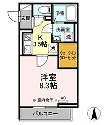 (仮)D−room幸町 3階1Kの間取り