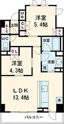 ARKMARK志茂Sta. 9階2LDKの間取り