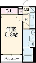 ミライオ板橋 1階1Kの間取り