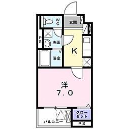 エミナール 3階1Kの間取り
