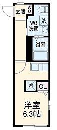 スピカ武蔵中原 1階ワンルームの間取り