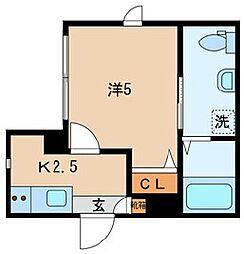 JR山手線 日暮里駅 徒歩13分の賃貸マンション 1階1Kの間取り
