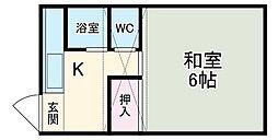 小泉アパートNo.8 2階1Kの間取り