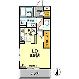 名古屋市営鶴舞線 塩釜口駅 徒歩12分の賃貸アパート 2階1Kの間取り