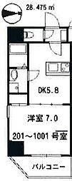 西武池袋線 所沢駅 徒歩4分の賃貸マンション 9階1DKの間取り