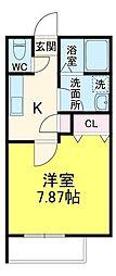 ヒューマンパレス新松戸X 2階1Kの間取り
