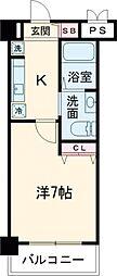 JR中央線 立川駅 徒歩12分の賃貸マンション 7階1Kの間取り