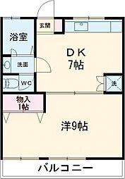 JR青梅線 中神駅 徒歩7分の賃貸アパート 2階1DKの間取り