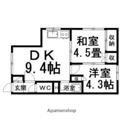 コーポカナムラ 2階2DKの間取り