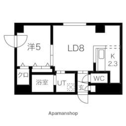 札幌市営東豊線 元町駅 徒歩10分の賃貸マンション 3階1LDKの間取り