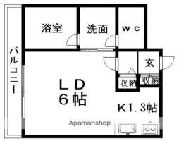 CASA札幌国際大学前 4階1Kの間取り
