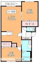 函館市電5系統 深堀町駅 徒歩12分の賃貸マンション 4階2LDKの間取り