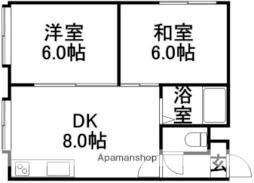タウニーハイム7・4 2階2DKの間取り