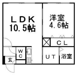 モデルノ14 3階1LDKの間取り