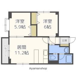 札幌市電2系統 西線16条駅 徒歩7分の賃貸マンション 2階2LDKの間取り