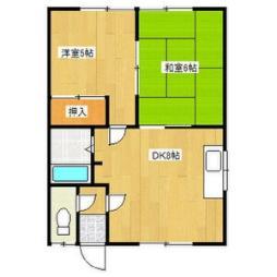 理寛寺八条マンション 2階2DKの間取り