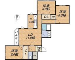札幌市電2系統 ロープウェイ入口駅 徒歩3分の賃貸マンション 1階3LDKの間取り