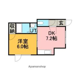 JR函館本線 銭函駅 バス9分 桂岡下車 徒歩6分の賃貸アパート 1階1DKの間取り