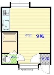 ハウスザライフビル 2階ワンルームの間取り