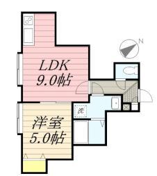 ヴェローチェ 2階1LDKの間取り