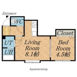 札幌市営東西線 白石駅 徒歩7分の賃貸アパート 2階1LDKの間取り