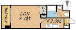レジディア北三条 7階1Kの間取り