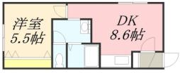 JR函館本線 南小樽駅 徒歩9分の賃貸アパート 2階1DKの間取り