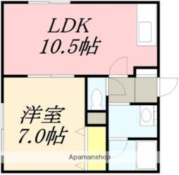 JR函館本線 南小樽駅 徒歩6分の賃貸アパート 1階1LDKの間取り