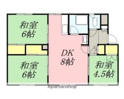 JR函館本線 余市駅 徒歩13分の賃貸アパート 2階3DKの間取り