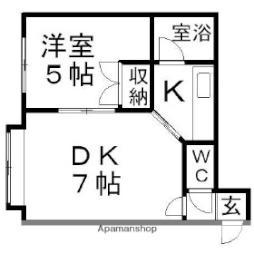 Mステーション新川 2階1LDKの間取り