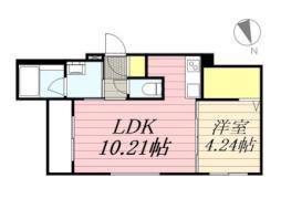 ピーロ栄通 3階1LDKの間取り