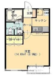 東武伊勢崎線 韮川駅 徒歩10分の賃貸アパート 1階1Kの間取り