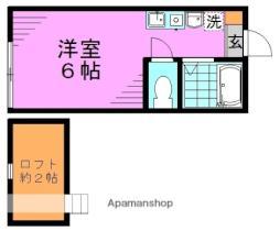 東京メトロ丸ノ内線 新高円寺駅 徒歩1分の賃貸アパート 2階ワンルームの間取り