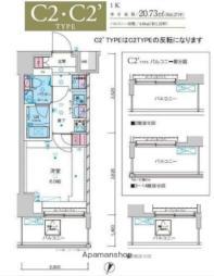 JR常磐線 綾瀬駅 徒歩10分の賃貸マンション 14階1Kの間取り