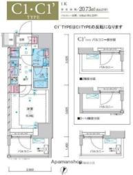 JR常磐線 綾瀬駅 徒歩10分の賃貸マンション 13階1Kの間取り